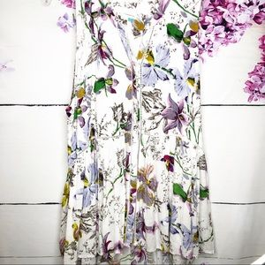 By Anthropologie | White Floral Flowy Tank